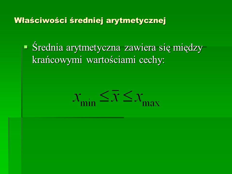 Właściwości średniej arytmetycznej Średnia arytmetyczna zawiera się między krańcowymi wartościami cechy: Średnia arytmetyczna zawiera się między krańc