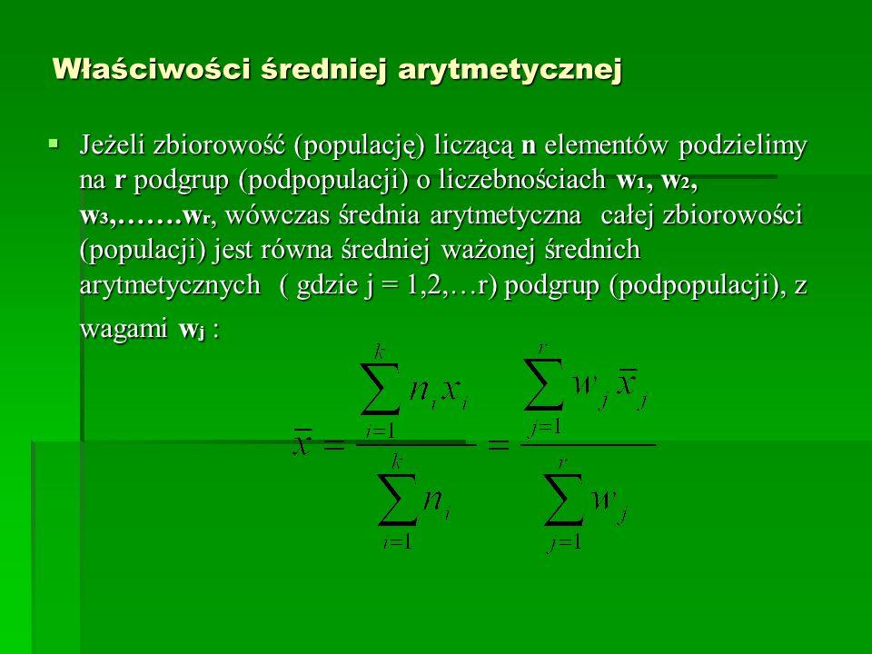 Właściwości średniej arytmetycznej Jeżeli zbiorowość (populację) liczącą n elementów podzielimy na r podgrup (podpopulacji) o liczebnościach w 1, w 2,