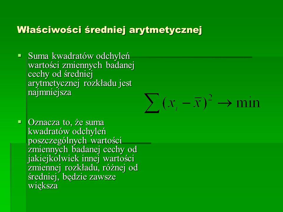 Właściwości średniej arytmetycznej Suma kwadratów odchyleń wartości zmiennych badanej cechy od średniej arytmetycznej rozkładu jest najmniejsza Suma k