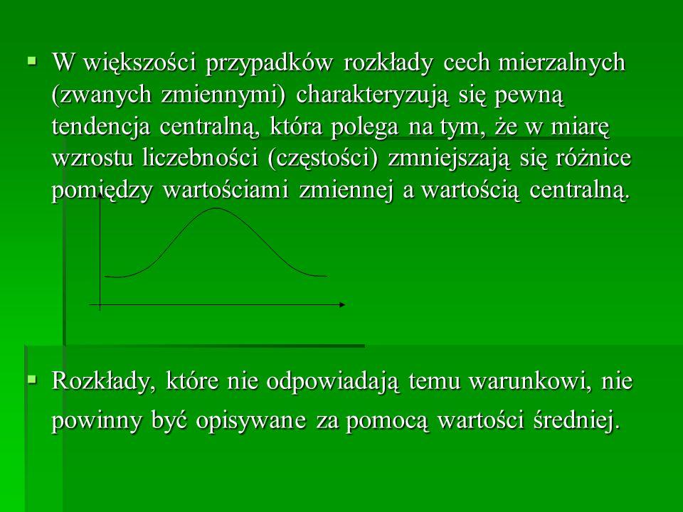 W większości przypadków rozkłady cech mierzalnych (zwanych zmiennymi) charakteryzują się pewną tendencja centralną, która polega na tym, że w miarę wz