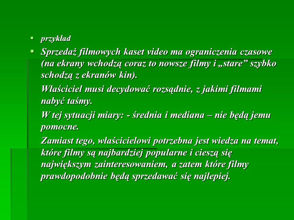 przykład przykład Sprzedaż filmowych kaset video ma ograniczenia czasowe (na ekrany wchodzą coraz to nowsze filmy i stare szybko schodzą z ekranów kin