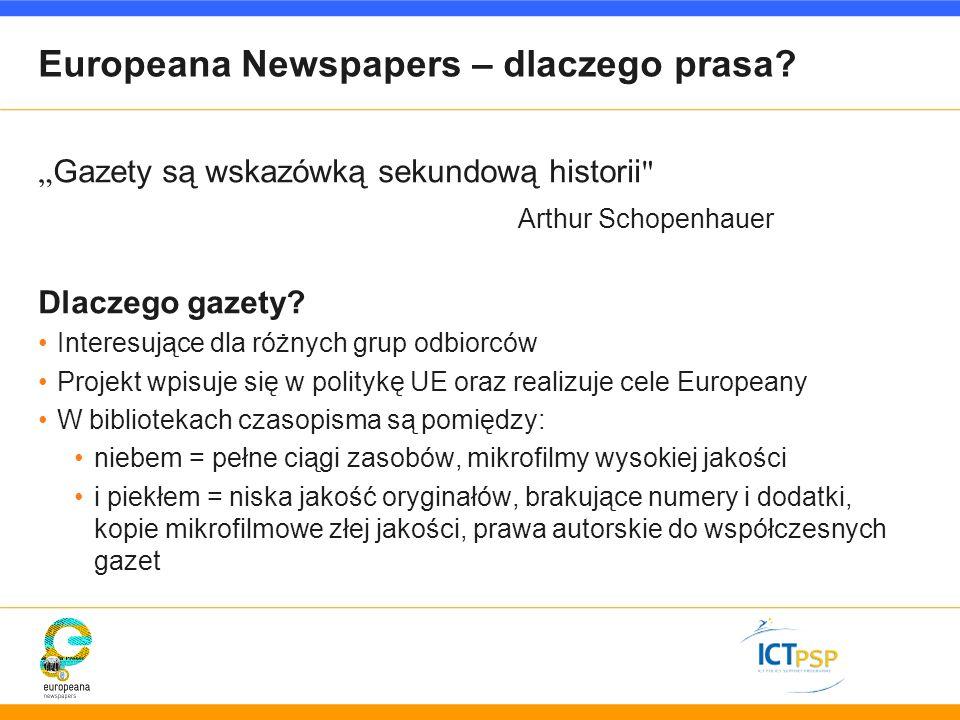 Europeana Newspapers – dlaczego prasa? Gazety są wskazówką sekundową historii