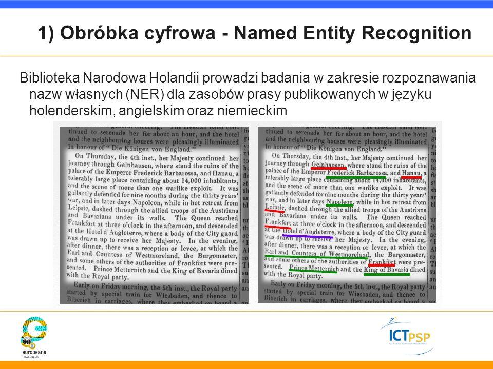 1) Obróbka cyfrowa - Named Entity Recognition Biblioteka Narodowa Holandii prowadzi badania w zakresie rozpoznawania nazw własnych (NER) dla zasobów p