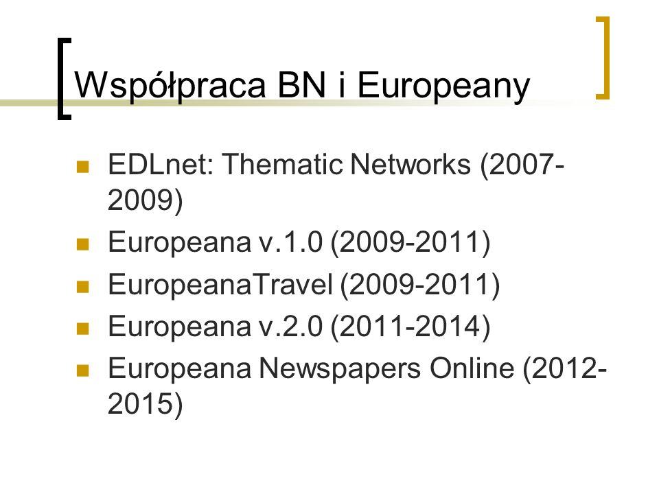 Współpraca BN i Europeany EDLnet: Thematic Networks (2007- 2009) Europeana v.1.0 (2009-2011) EuropeanaTravel (2009-2011) Europeana v.2.0 (2011-2014) E