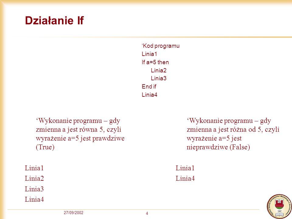 27/09/2002 4 Działanie If Kod programu Linia1 If a=5 then Linia2 Linia3 End if Linia4 Wykonanie programu – gdy zmienna a jest równa 5, czyli wyrażenie a=5 jest prawdziwe (True) Linia1 Linia2 Linia3 Linia4 Wykonanie programu – gdy zmienna a jest różna od 5, czyli wyrażenie a=5 jest nieprawdziwe (False) Linia1 Linia4
