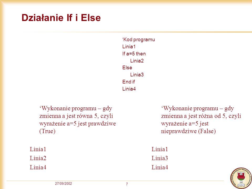 27/09/2002 7 Działanie If i Else Kod programu Linia1 If a=5 then Linia2 Else Linia3 End if Linia4 Wykonanie programu – gdy zmienna a jest równa 5, czyli wyrażenie a=5 jest prawdziwe (True) Linia1 Linia2 Linia4 Wykonanie programu – gdy zmienna a jest różna od 5, czyli wyrażenie a=5 jest nieprawdziwe (False) Linia1 Linia3 Linia4