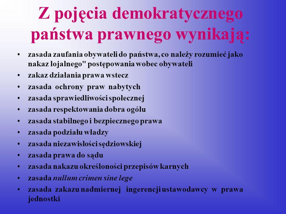 Z pojęcia demokratycznego państwa prawnego wynikają: zasada zaufania obywateli do państwa, co należy rozumieć jako nakaz lojalnego