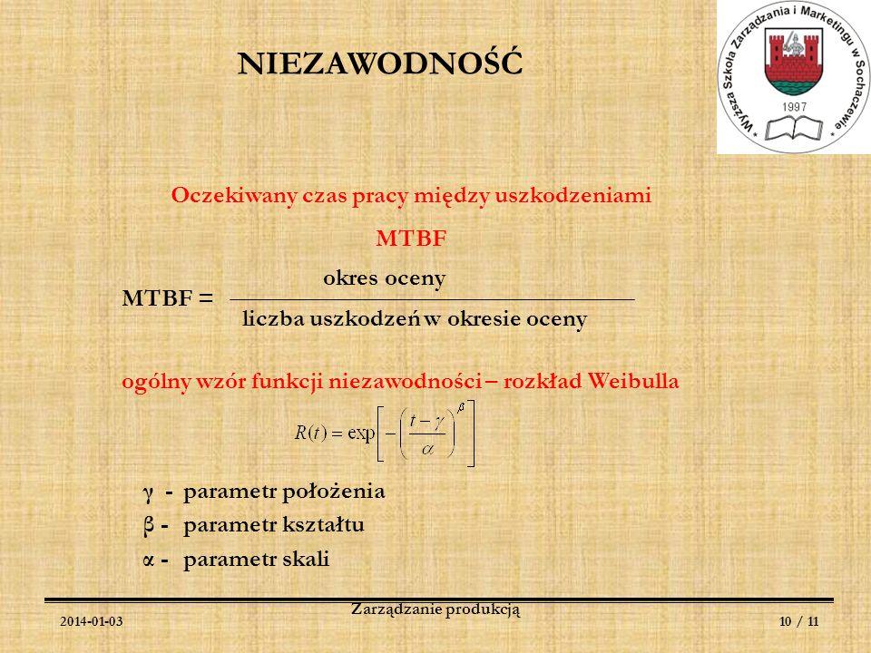 2014-01-0310 / 11 Zarządzanie produkcją Oczekiwany czas pracy między uszkodzeniami MTBF MTBF = okres oceny liczba uszkodzeń w okresie oceny ogólny wzó