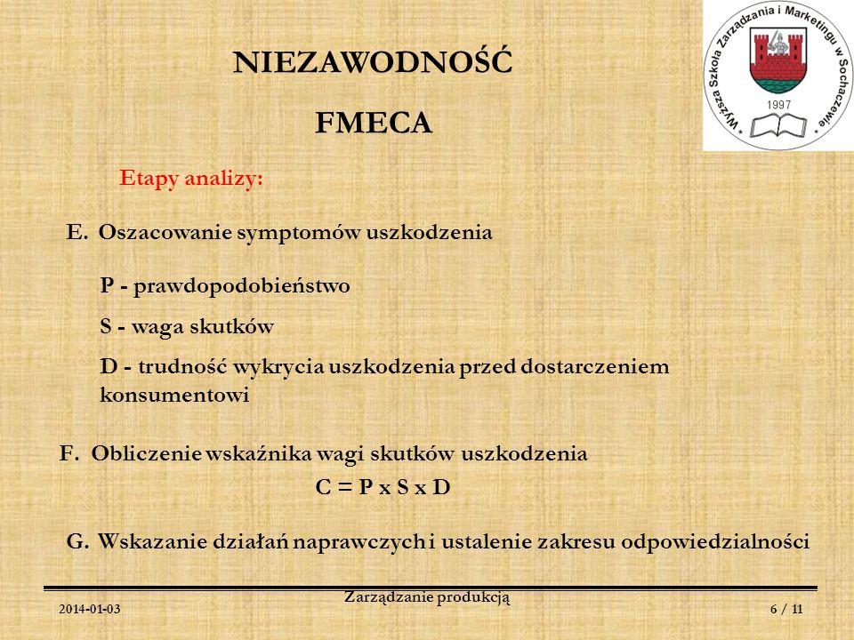 2014-01-036 / 11 Zarządzanie produkcją NIEZAWODNOŚĆ FMECA Etapy analizy: E.Oszacowanie symptomów uszkodzenia P - prawdopodobieństwo S - waga skutków D