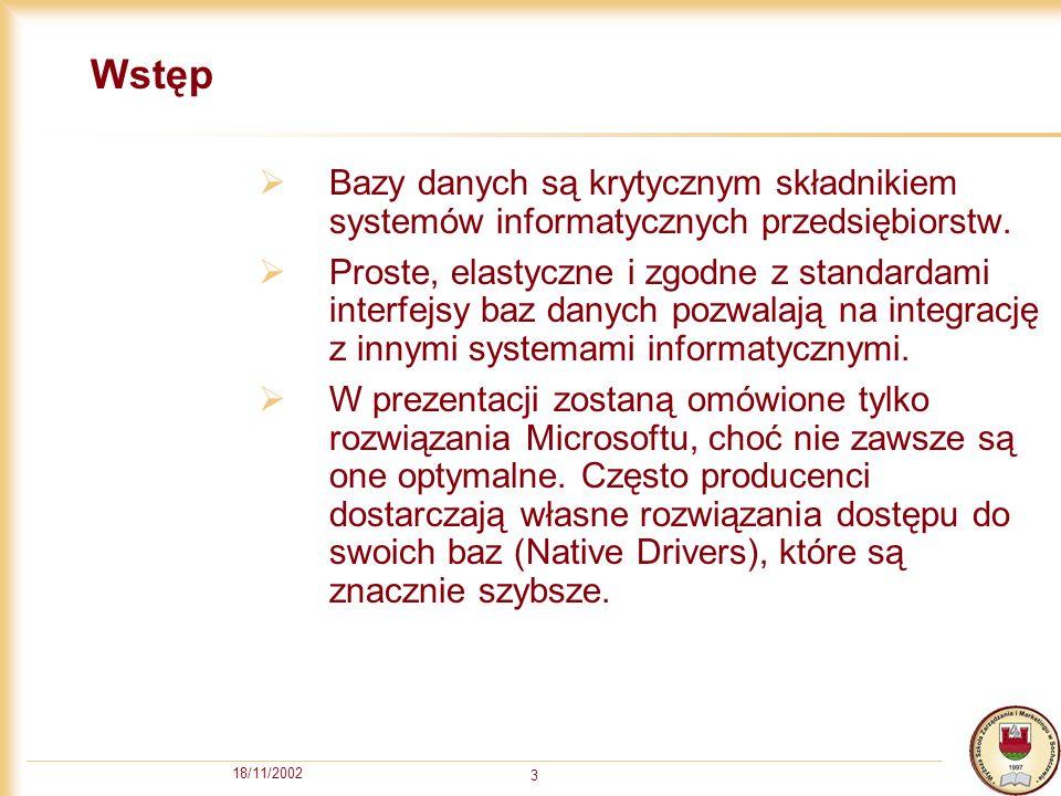 18/11/2002 3 Wstęp Bazy danych są krytycznym składnikiem systemów informatycznych przedsiębiorstw.