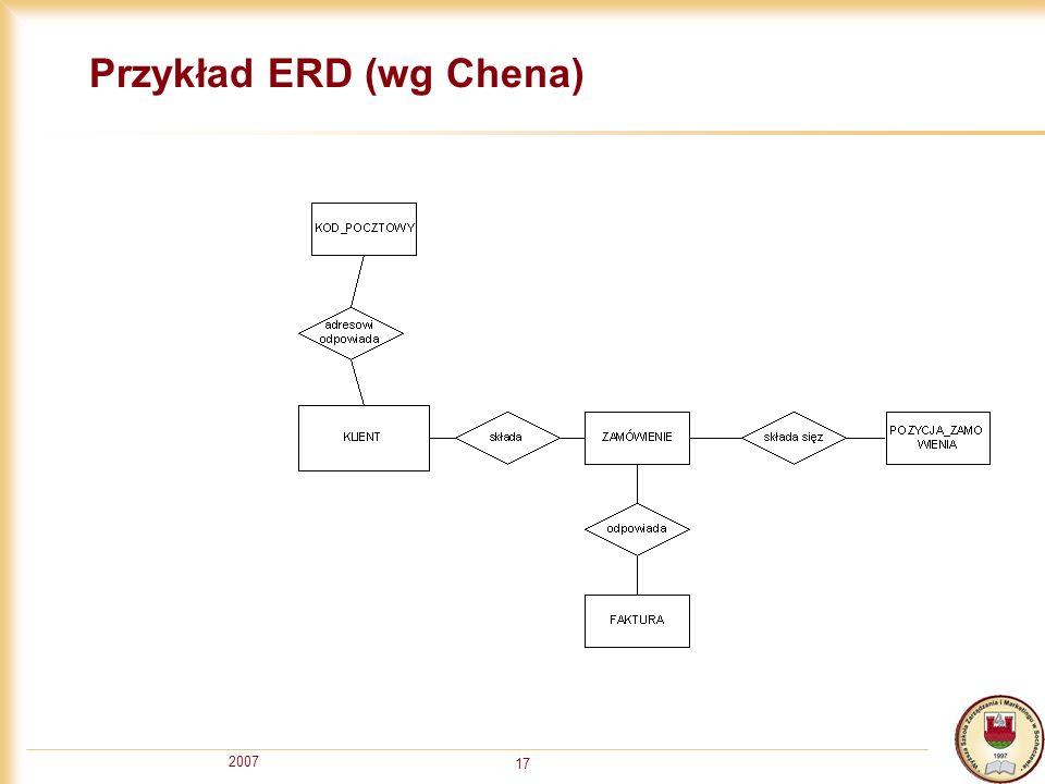2007 17 Przykład ERD (wg Chena)