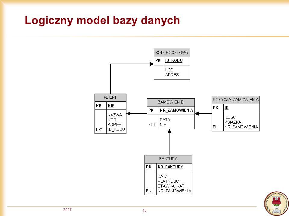 2007 18 Logiczny model bazy danych