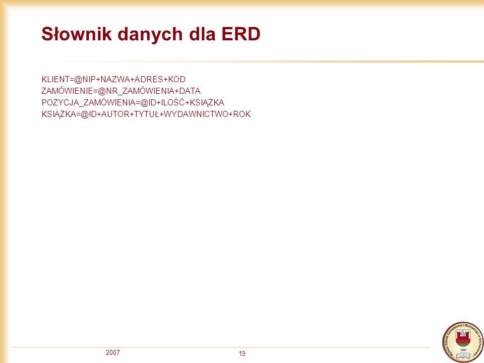 2007 19 Słownik danych dla ERD KLIENT=@NIP+NAZWA+ADRES+KOD ZAMÓWIENIE=@NR_ZAMÓWIENIA+DATA POZYCJA_ZAMÓWIENIA=@ID+ILOŚĆ+KSIĄŻKA KSIĄŻKA=@ID+AUTOR+TYTUŁ