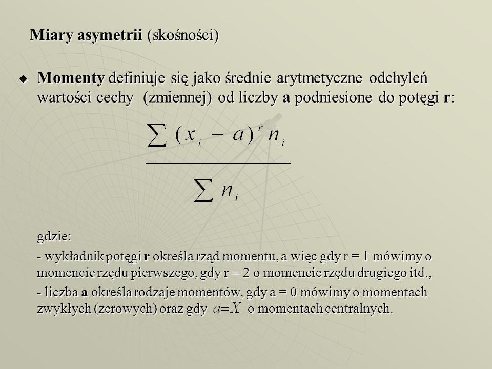 Miary asymetrii (skośności) Momenty definiuje się jako średnie arytmetyczne odchyleń wartości cechy (zmiennej) od liczby a podniesione do potęgi r: Mo