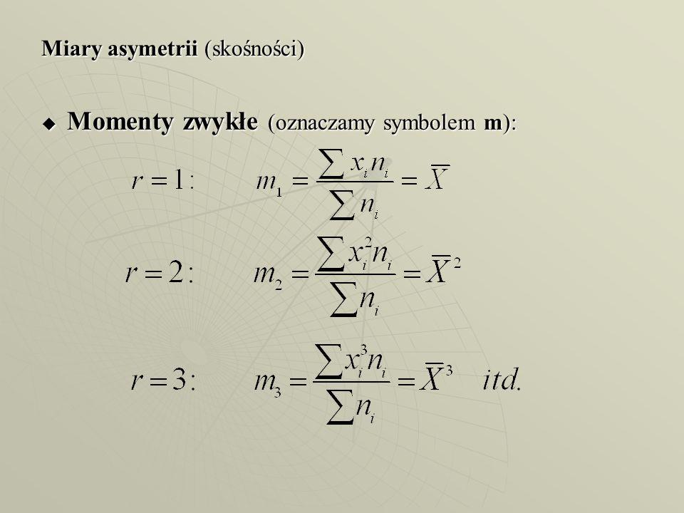 Miary asymetrii (skośności) Momenty zwykłe (oznaczamy symbolem m): Momenty zwykłe (oznaczamy symbolem m):
