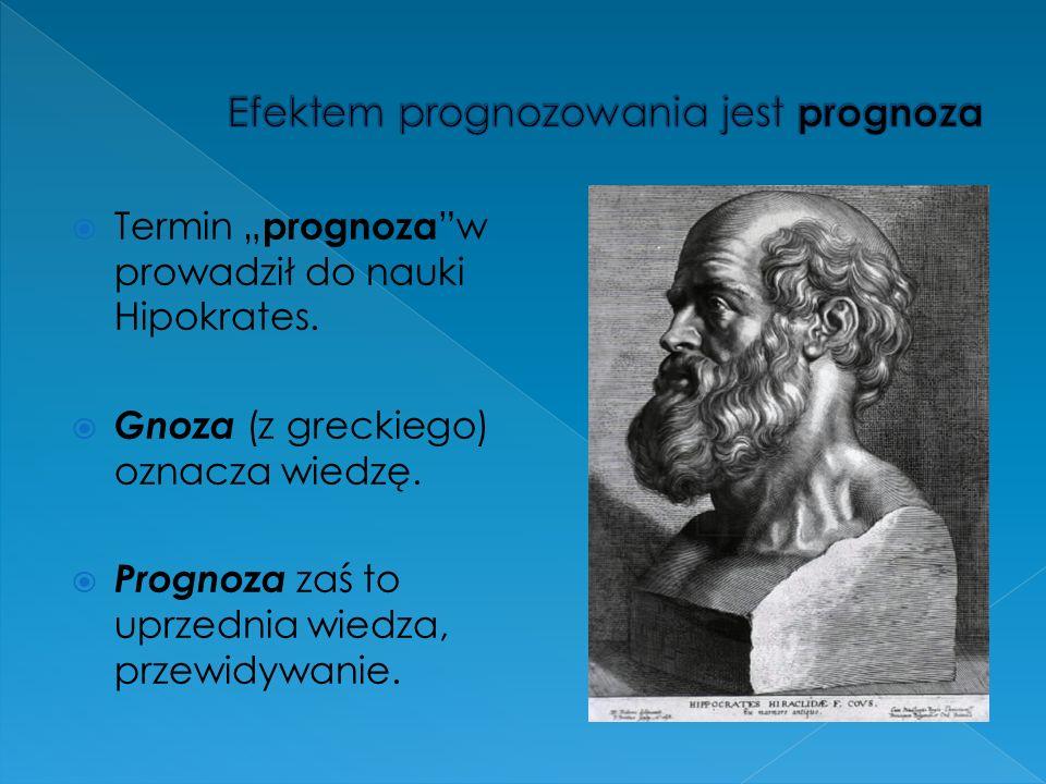 Termin prognoza w prowadził do nauki Hipokrates. Gnoza (z greckiego) oznacza wiedzę. Prognoza zaś to uprzednia wiedza, przewidywanie.