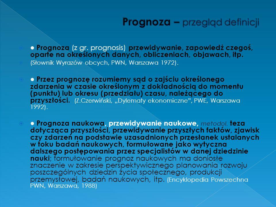 Prognoza (z gr. prognosis) przewidywanie, zapowiedż czegoś, oparte na określonych danych, obliczeniach, objawach, itp. (Słownik Wyrazów obcych, PWN, W