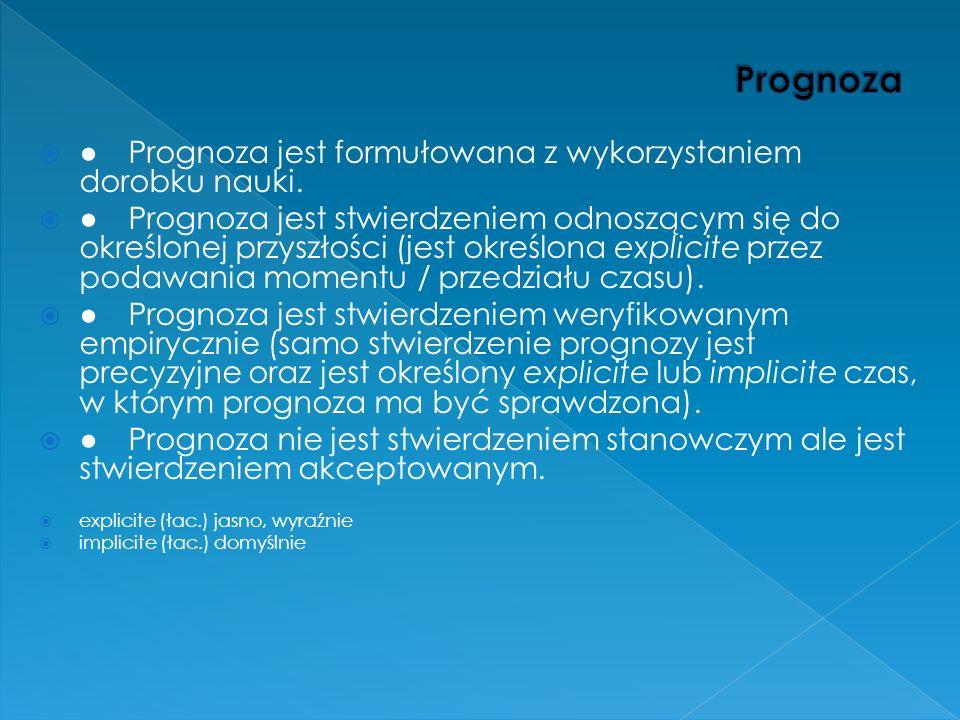 Prognoza jest formułowana z wykorzystaniem dorobku nauki. Prognoza jest stwierdzeniem odnoszącym się do określonej przyszłości (jest określona explici