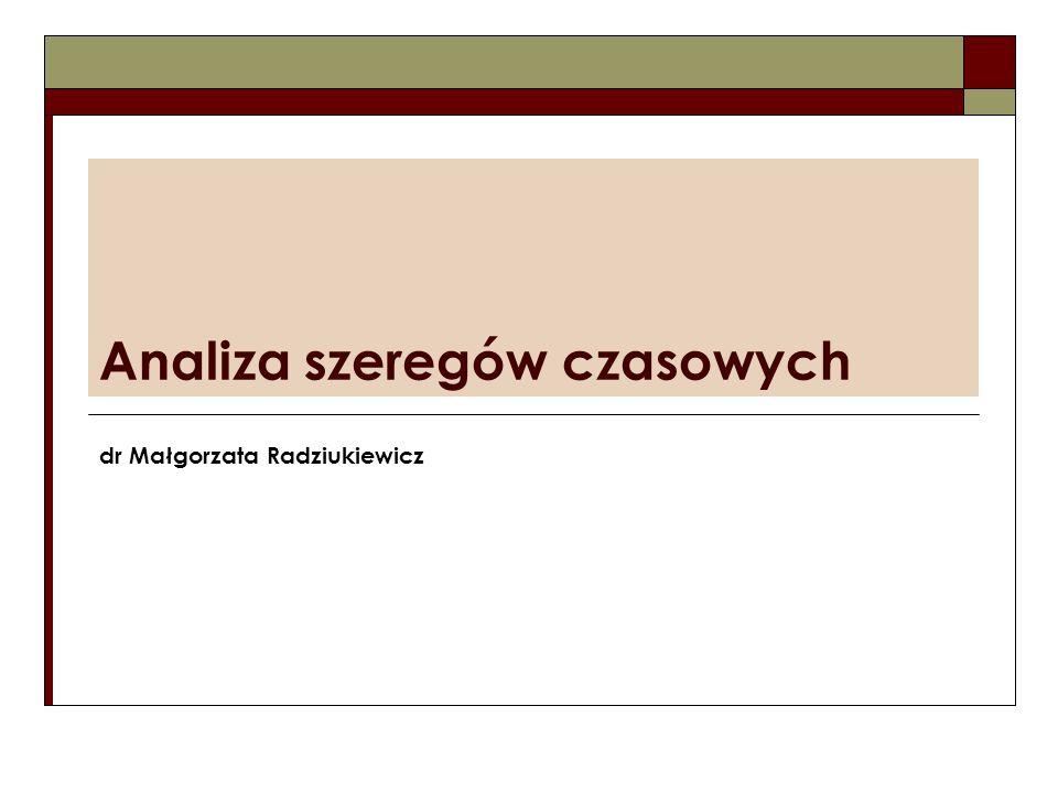 Analiza szeregów czasowych dr Małgorzata Radziukiewicz