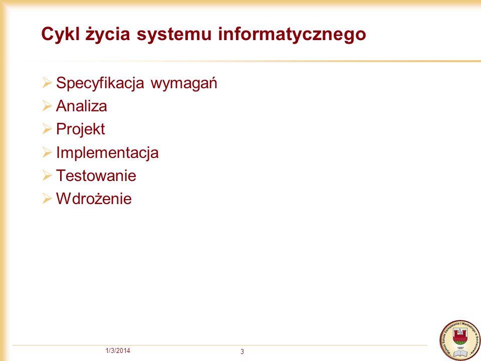 1/3/2014 3 Cykl życia systemu informatycznego Specyfikacja wymagań Analiza Projekt Implementacja Testowanie Wdrożenie