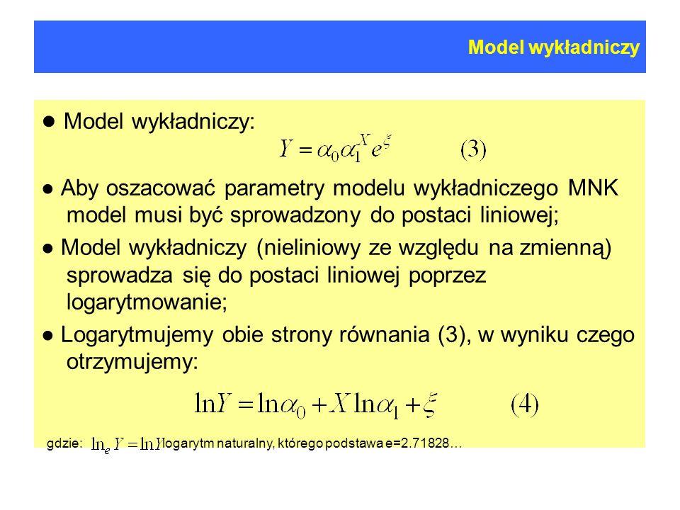 Model wykładniczy Model wykładniczy: Aby oszacować parametry modelu wykładniczego MNK model musi być sprowadzony do postaci liniowej; Model wykładniczy (nieliniowy ze względu na zmienną) sprowadza się do postaci liniowej poprzez logarytmowanie; Logarytmujemy obie strony równania (3), w wyniku czego otrzymujemy: gdzie: logarytm naturalny, którego podstawa e=2.71828…