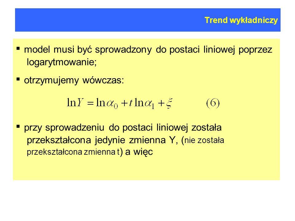 Trend wykładniczy model musi być sprowadzony do postaci liniowej poprzez logarytmowanie; otrzymujemy wówczas: przy sprowadzeniu do postaci liniowej została przekształcona jedynie zmienna Y, ( nie została przekształcona zmienna t ) a więc
