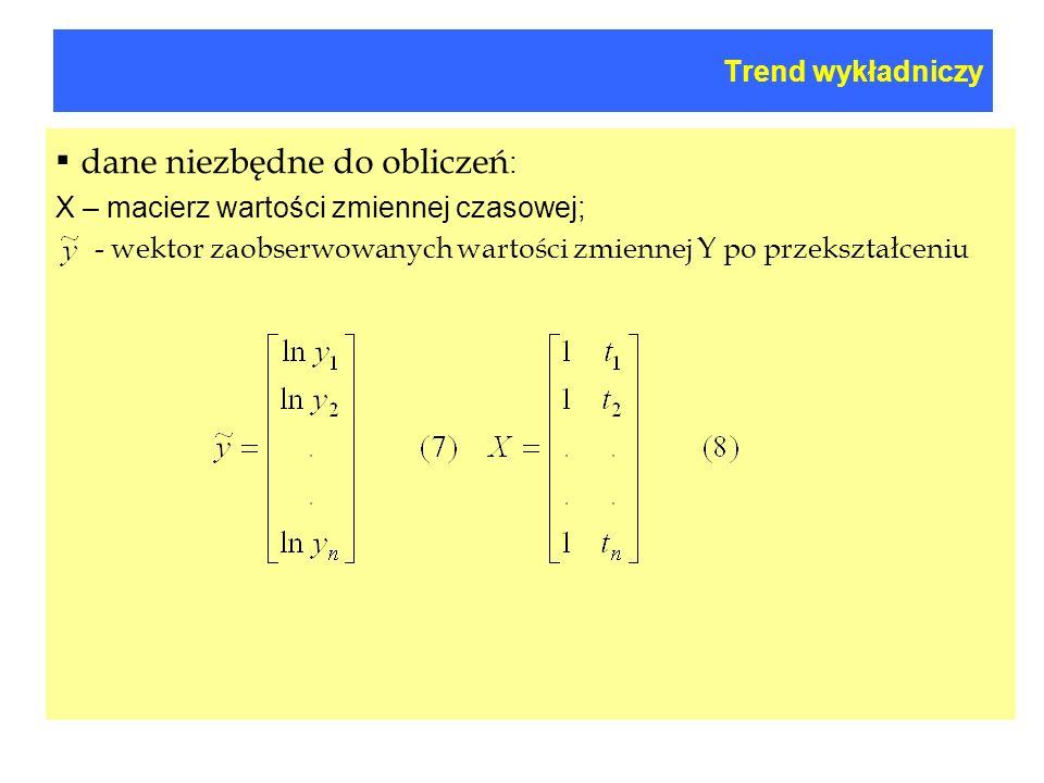 Trend wykładniczy dane niezbędne do obliczeń : X – macierz wartości zmiennej czasowej; - wektor zaobserwowanych wartości zmiennej Y po przekształceniu