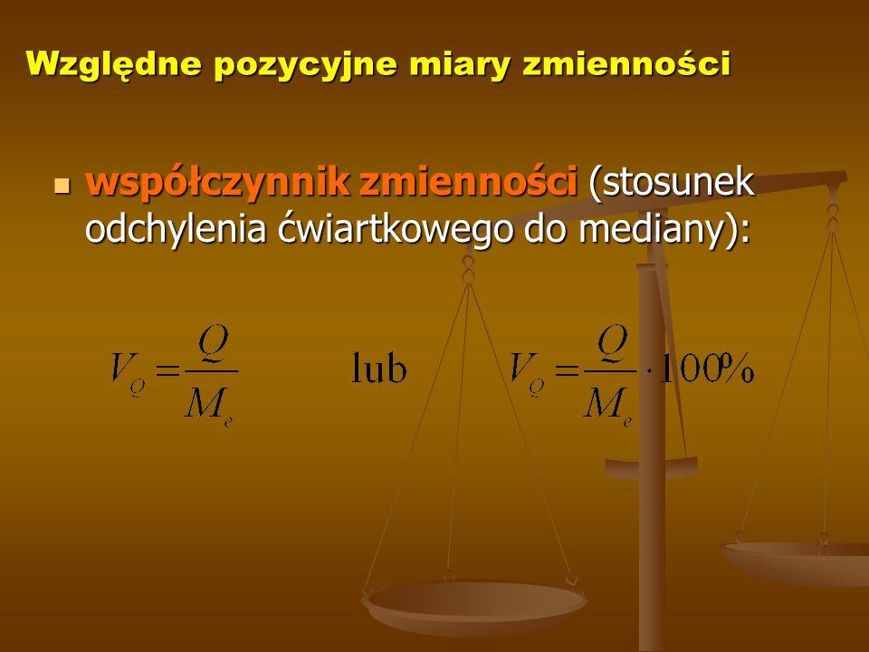 Względne pozycyjne miary zmienności współczynnik zmienności (stosunek odchylenia ćwiartkowego do mediany): współczynnik zmienności (stosunek odchylenia ćwiartkowego do mediany):