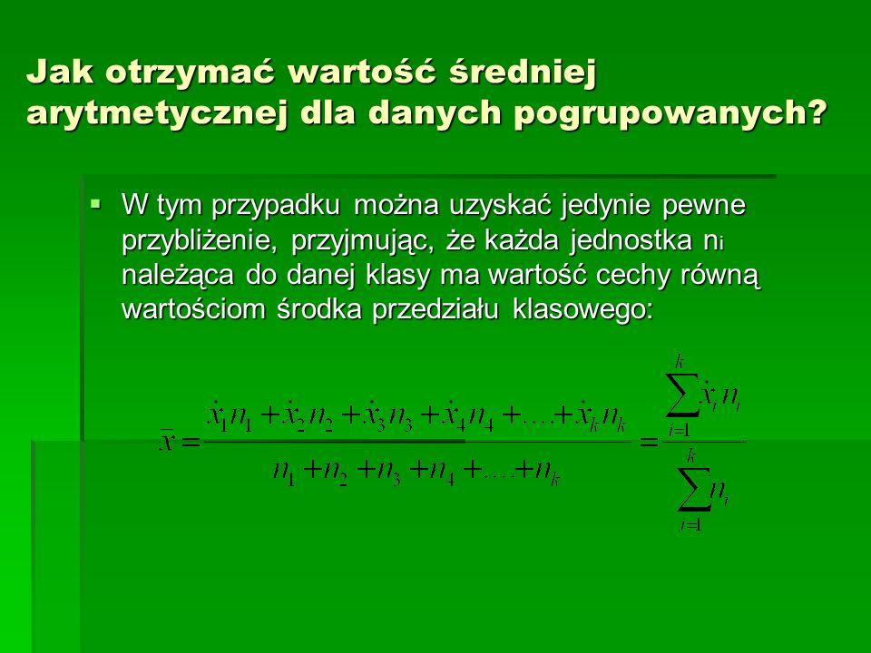 Jak otrzymać wartość średniej arytmetycznej dla danych pogrupowanych.