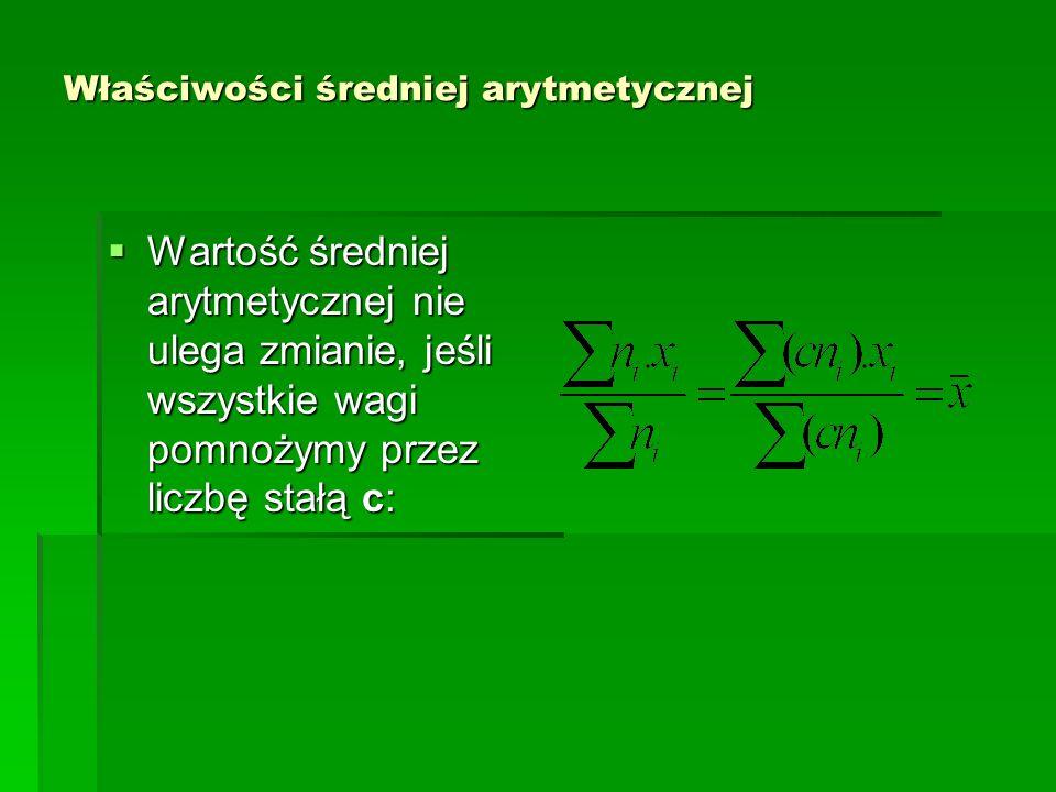 Właściwości średniej arytmetycznej Jeżeli zbiorowość (populację) liczącą n elementów podzielimy na r podgrup (podpopulacji) o liczebnościach w 1, w 2, w 3,…….w r, wówczas średnia arytmetyczna całej zbiorowości (populacji) jest równa średniej ważonej średnich arytmetycznych ( gdzie j = 1,2,…r) podgrup (podpopulacji), z wagami w j : Jeżeli zbiorowość (populację) liczącą n elementów podzielimy na r podgrup (podpopulacji) o liczebnościach w 1, w 2, w 3,…….w r, wówczas średnia arytmetyczna całej zbiorowości (populacji) jest równa średniej ważonej średnich arytmetycznych ( gdzie j = 1,2,…r) podgrup (podpopulacji), z wagami w j :