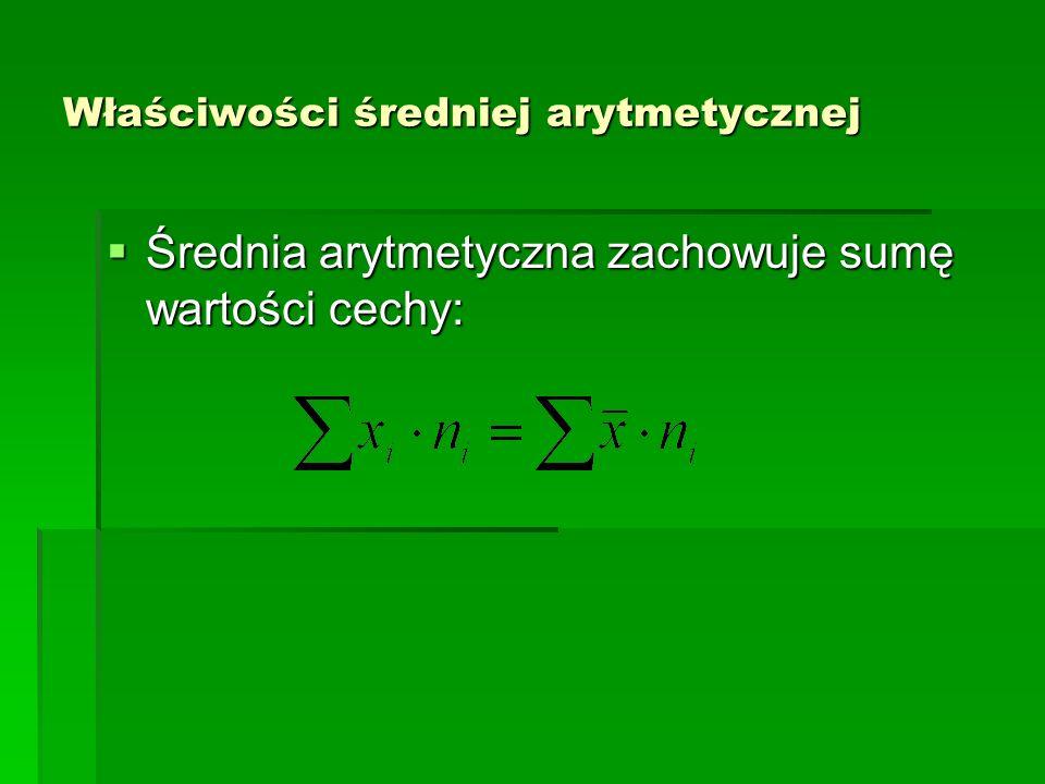 Właściwości średniej arytmetycznej Wartość liczbowa średniej arytmetycznej ma takie samo miano jak badana cecha Wartość liczbowa średniej arytmetycznej ma takie samo miano jak badana cecha