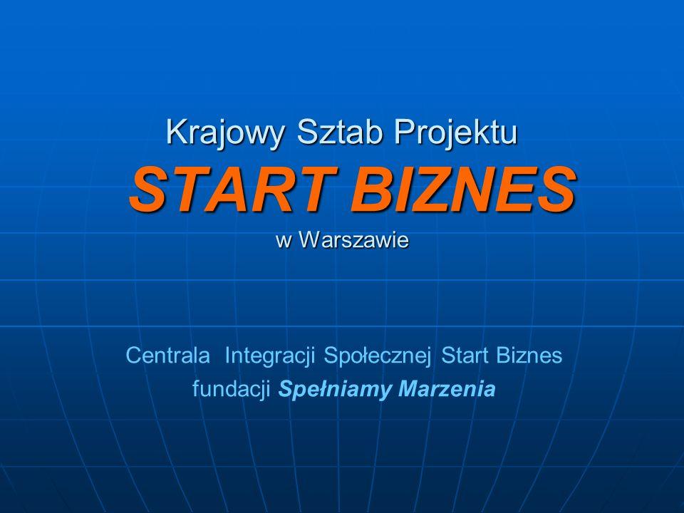 Krajowy Sztab Projektu START BIZNES w Warszawie Centrala Integracji Społecznej Start Biznes fundacji Spełniamy Marzenia
