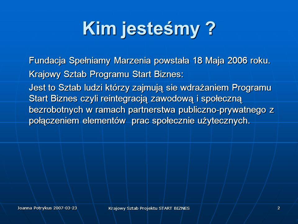 Joanna Potrykus 2007-03-23 Krajowy Sztab Projektu START BIZNES 2 Kim jesteśmy .