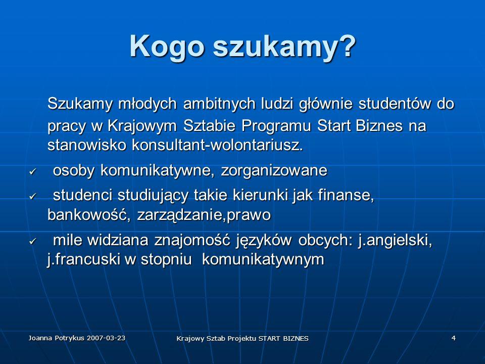 Joanna Potrykus 2007-03-23 Krajowy Sztab Projektu START BIZNES 5 Schemat organizacji biura Do obsługi Programu powołano Krajowy Sztab.Programu Start Biznes.Aby zapewnić pełną obsługę zatwierdzono podział na jednostki organizacyjne.