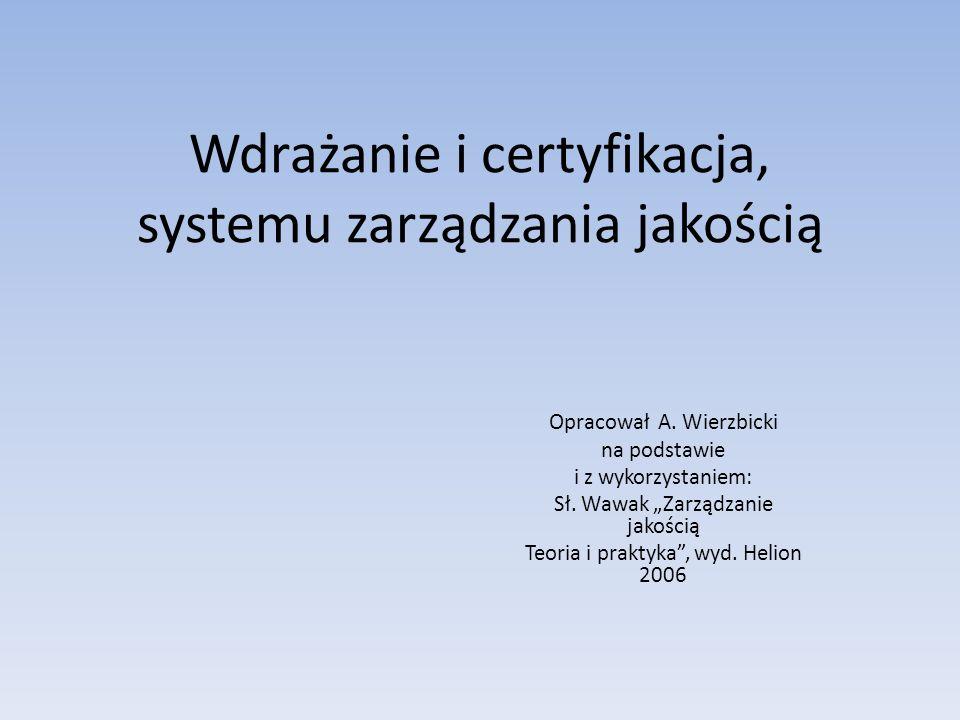 Wdrażanie i certyfikacja, systemu zarządzania jakością Opracował A. Wierzbicki na podstawie i z wykorzystaniem: Sł. Wawak Zarządzanie jakością Teoria