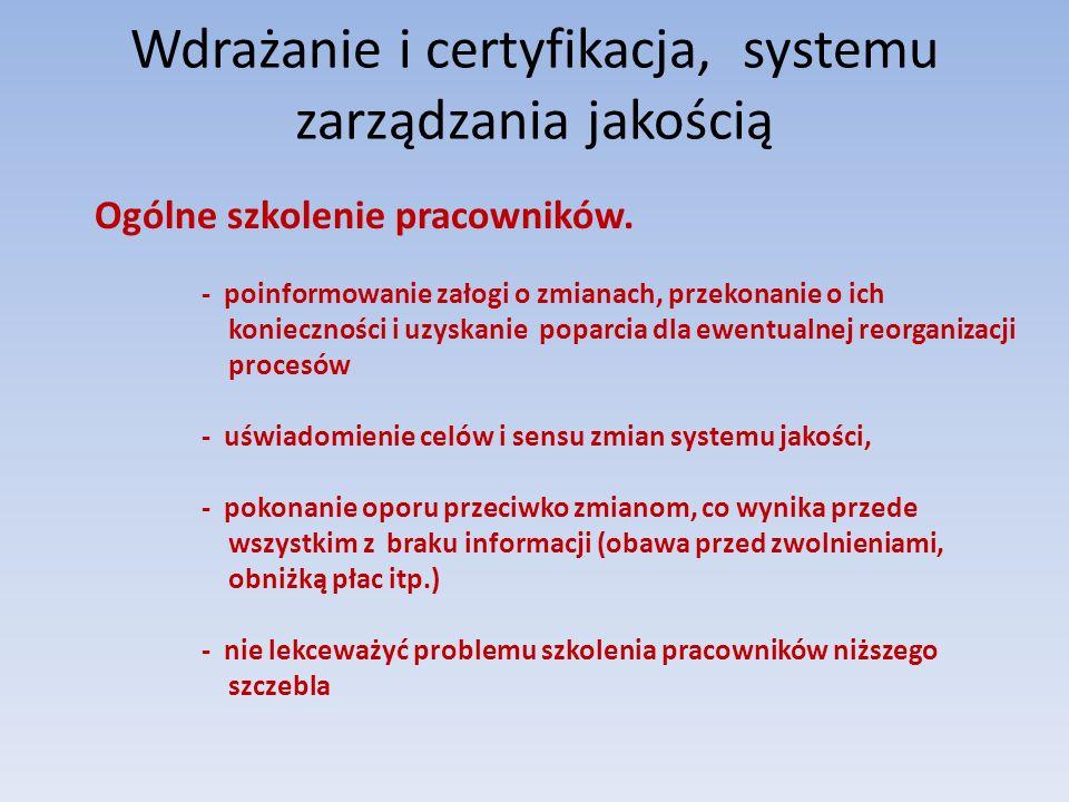 Wdrażanie i certyfikacja, systemu zarządzania jakością Ogólne szkolenie pracowników. - poinformowanie załogi o zmianach, przekonanie o ich koniecznośc