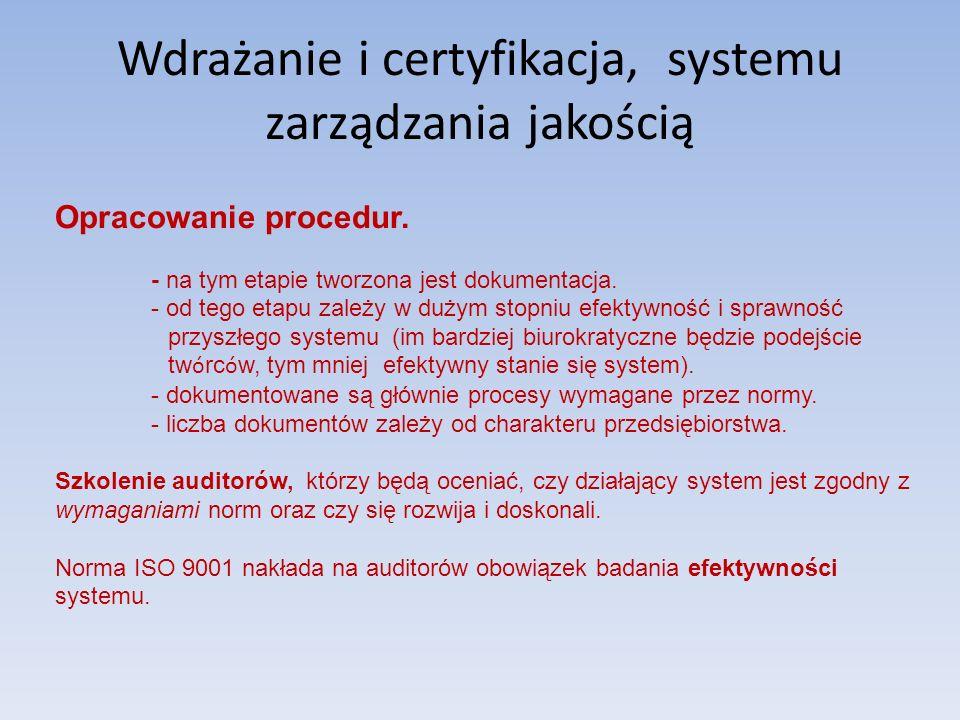 Wdrażanie i certyfikacja, systemu zarządzania jakością Opracowanie procedur. - na tym etapie tworzona jest dokumentacja. - od tego etapu zależy w duży