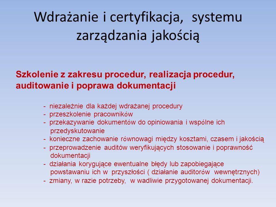 Wdrażanie i certyfikacja, systemu zarządzania jakością Szkolenie z zakresu procedur, realizacja procedur, auditowanie i poprawa dokumentacji - niezale