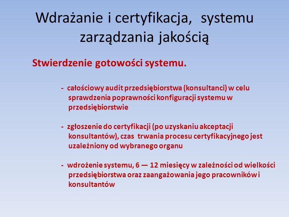 Wdrażanie i certyfikacja, systemu zarządzania jakością Stwierdzenie gotowości systemu. - całościowy audit przedsiębiorstwa (konsultanci) w celu sprawd