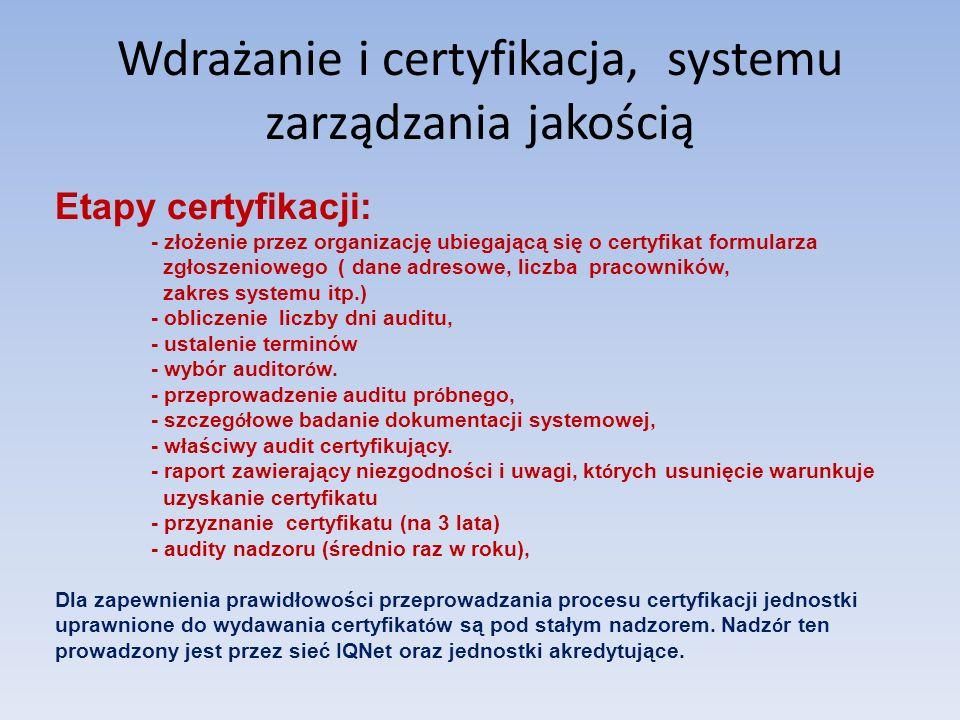 Wdrażanie i certyfikacja, systemu zarządzania jakością Etapy certyfikacji: - złożenie przez organizację ubiegającą się o certyfikat formularza zgłosze