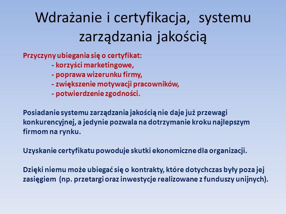 Wdrażanie i certyfikacja, systemu zarządzania jakością Przyczyny ubiegania się o certyfikat: - korzyści marketingowe, - poprawa wizerunku firmy, - zwi