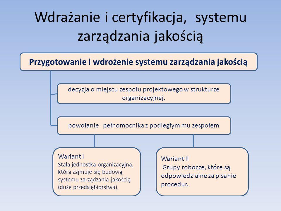 Wdrażanie i certyfikacja, systemu zarządzania jakością Przygotowanie i wdrożenie systemu zarządzania jakością decyzja o miejscu zespołu projektowego w