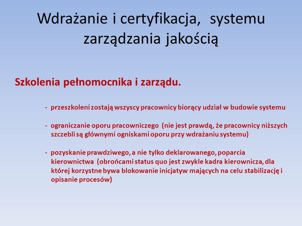 Wdrażanie i certyfikacja, systemu zarządzania jakością Szkolenia pełnomocnika i zarządu. - przeszkoleni zostają wszyscy pracownicy biorący udział w bu