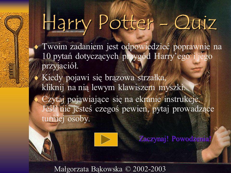 Harry Potter - Quiz Twoim zadaniem jest odpowiedzieć poprawnie na 10 pytań dotyczących przygód Harryego i jego przyjaciół. Kiedy pojawi się brązowa st