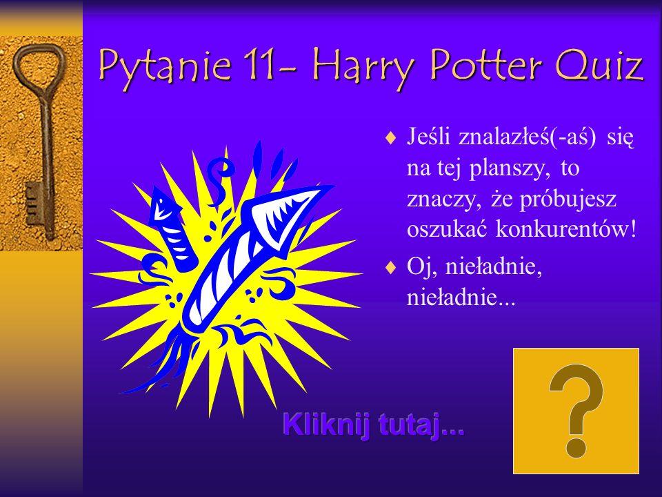 Pytanie 11- Harry Potter Quiz Jeśli znalazłeś(-aś) się na tej planszy, to znaczy, że próbujesz oszukać konkurentów! Oj, nieładnie, nieładnie...