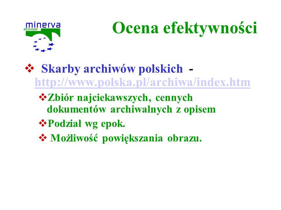 Ocena efektywności Skarby archiwów polskich - http://www.polska.pl/archiwa/index.htm http://www.polska.pl/archiwa/index.htm Zbiór najciekawszych, cenn