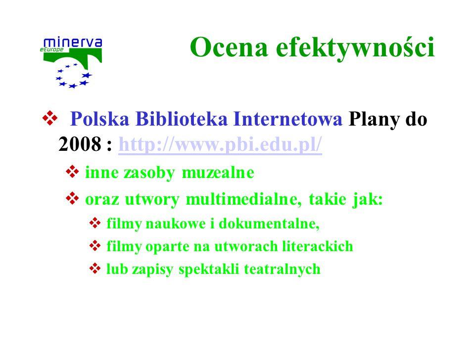 Ocena efektywności Polska Biblioteka Internetowa Plany do 2008 : http://www.pbi.edu.pl/http://www.pbi.edu.pl/ inne zasoby muzealne oraz utwory multime