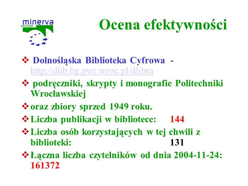 Ocena efektywności Dolnośląska Biblioteka Cyfrowa - http://dlib.bg.pwr.wroc.pl/dlibra http://dlib.bg.pwr.wroc.pl/dlibra podręczniki, skrypty i monogra