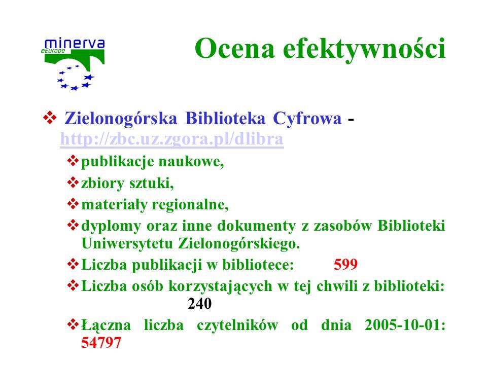Ocena efektywności Zielonogórska Biblioteka Cyfrowa - http://zbc.uz.zgora.pl/dlibra http://zbc.uz.zgora.pl/dlibra publikacje naukowe, zbiory sztuki, m