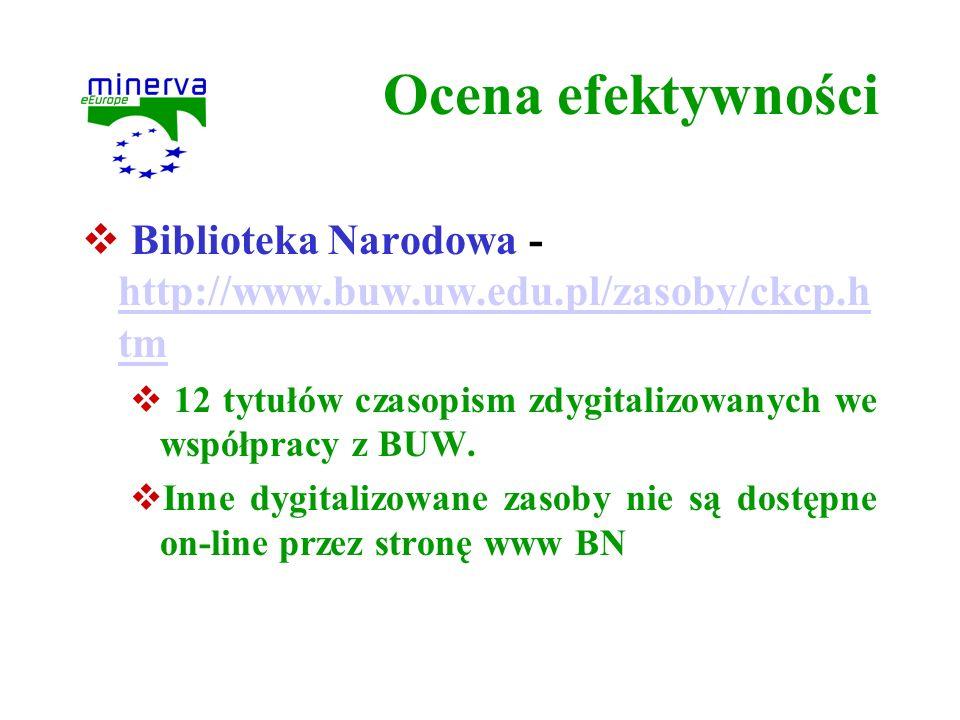 Ocena efektywności Biblioteka Narodowa - http://www.buw.uw.edu.pl/zasoby/ckcp.h tm http://www.buw.uw.edu.pl/zasoby/ckcp.h tm 12 tytułów czasopism zdyg